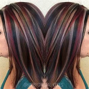 Chunky highlight red blonde brown http://niffler-elm ...