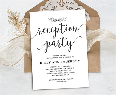 Wedding Reception Invitation Printable Reception Party Card