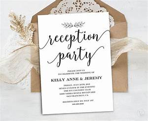 Wedding reception invitation printable reception party card for Wedding reception invitations with pictures