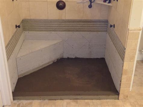 flooring how to build concrete shower pan sealed