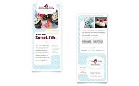 rack cards templates word bakery cupcake shop rack card template word publisher