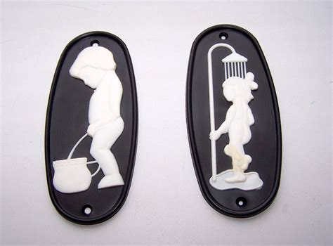 vintage bathroom signs wc door plaque plate ladies men boys