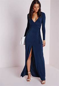 lyst missguided slinky wrap front maxi dress navy in blue With robe longue portefeuille