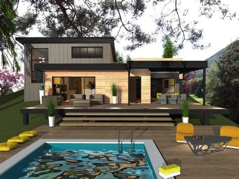 maison ossature bois toit plat mzaol