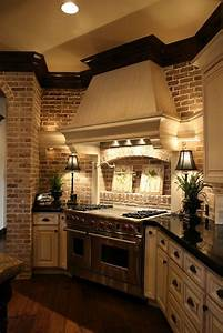 53, Impressive, Kitchens, With, Brick, Walls, And, Ceilings