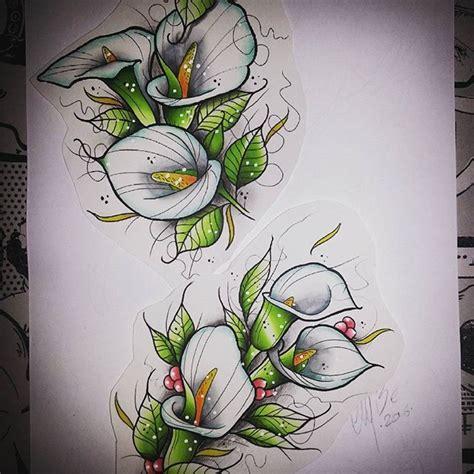 Amazing Little Neo Traditional Calla Lilies Tattoo Design