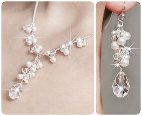 Wedding Jewelry Sets For Brides : Pearl Bridal Jewelry Set. Wedding Bridal Jewelry Sets Crystal