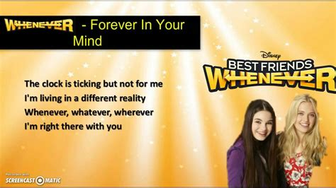 forever in your mind whenever from best friends