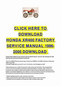 Honda Xr400 Factory Service Manual 1996