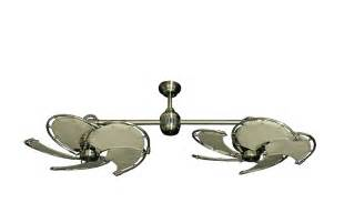 twin star ii antique brass nautical dual ceiling fan with