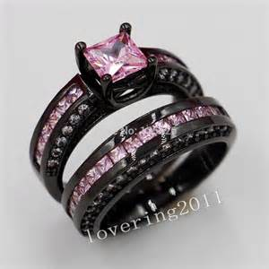 black and pink engagement rings wieck engagement pink sapphire simulated 10kt black gold filled 2 wedding band