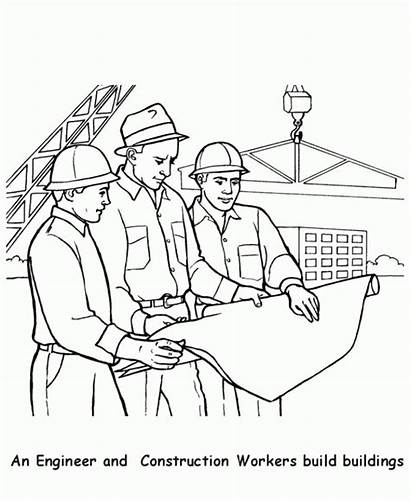 Coloring Construction Labor Worker Engineer Printable Workers