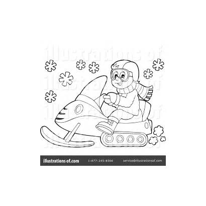 Snowmobile Clipart Pages Drawing Snow Royalty Machine