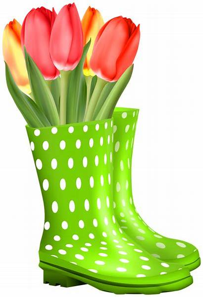 Transparent Boots Clipart Spring Tulips Rubber Boot