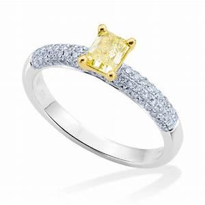 platinum yellow diamond pave set diamond shoulders With platinum diamond set wedding rings
