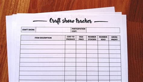 craft fair inventory tracker  printable diy beauty