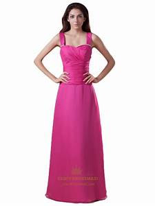 Hot Pink Chiffon Beaded Bridesmaid Dresses With Straps ...