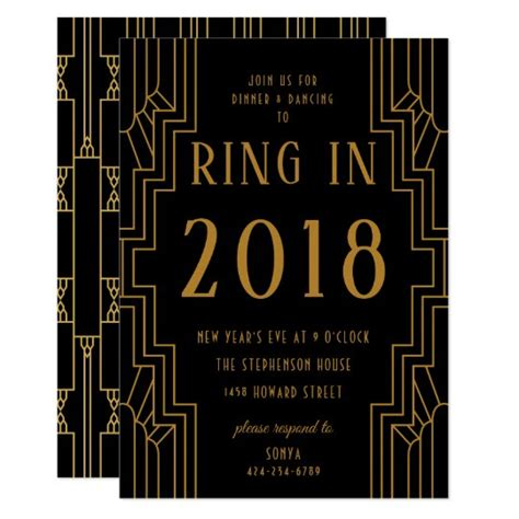 Art Deco Gold Frame New Year's Eve Party Black Invitation