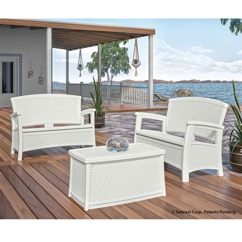 suncast elements loveseat patio set white outdoor