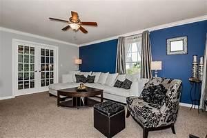 Blue, Living, Room, Accents, U2013, Modern, House