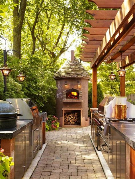 traditional outdoor kitchen  pizza open homemydesign