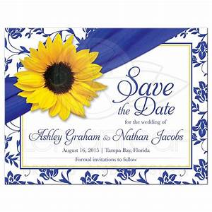 wedding save the date announcement sunflower royal blue damask With royal blue and sunflower wedding invitations