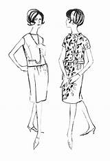 1960s Dresses Line Drawings Colouring 1962 History Dress Patterns Styles Early Sheath Costume Overblouse Era Jacket Trends Brooches Slimline Buttons sketch template