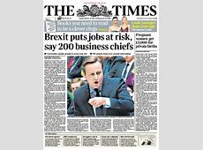The times front page 'brexit puts jobs at risk, say 200