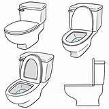 Vector Flush Toilet Premium sketch template