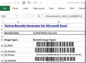 Native barcode generator for excel for Barcode font for excel