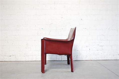 Bordeaux Red Cab 414 Lounge Chair By Mario Bellini For