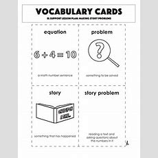 Vocabulary Cards Making Story Problems  Worksheet Educationcom