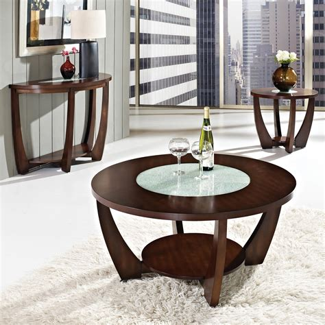 Winsome wood 92219 genoa coffee table, glass inset and shelf this is an amazing table. Rafael Round Coffee Table - Crackled Glass, Dark Cherry Wood | DCG Stores