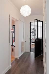 Porte De Couloir : l gant contemporain couloir radiateur fonte blanc est porte vitr e industrielle noireappari ~ Nature-et-papiers.com Idées de Décoration