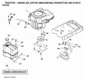 Husqvarna Lth1797  96041005100  Ride On Mower Engine Spare Parts Diagram