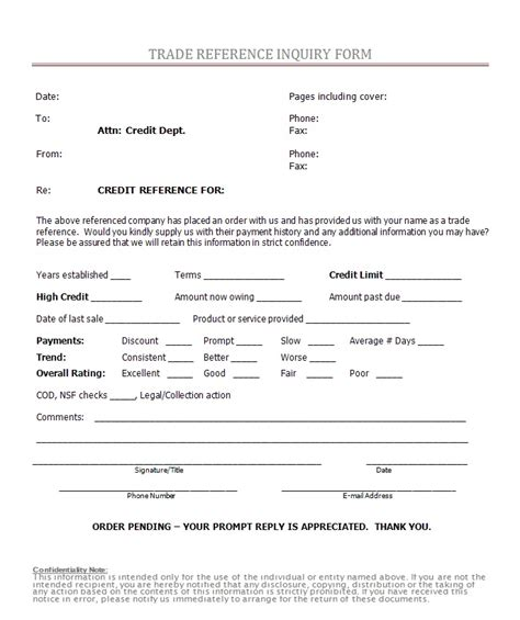 Trade Reference Request Form Template Free by Free Printable Credit Reference Form Form Generic