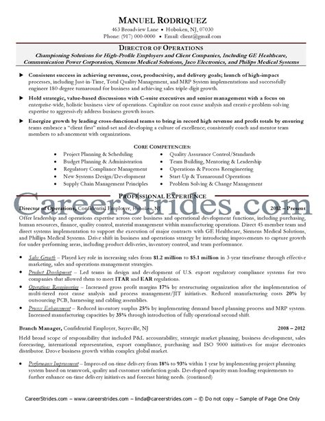 Operations Specialist Resume Exle by Curriculum Vitae Format Design Professional Goals For