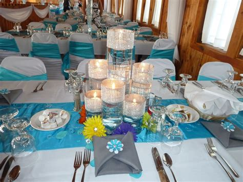malibu blue centerpiece with accents dream event ideas blue wedding decorations