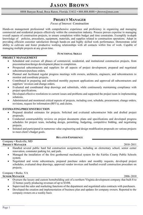 Summary For Project Manager by Construction Project Manager Resume Sles Resume Sle