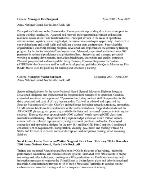 Army Sergeant Resume by Wheeler Chronological Resume