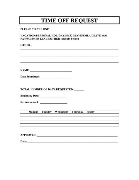 Time Off Request Policy Template by Vacation Request Forms 2014 Free Printable Printable