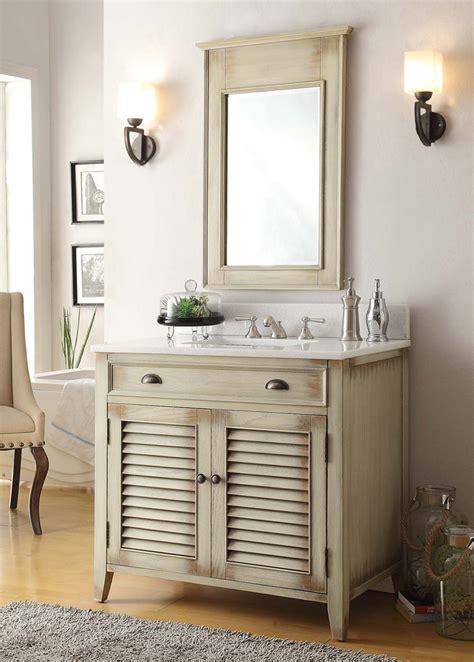 Adelina 36 Inch Beige Bathroom Vanity, White Marble