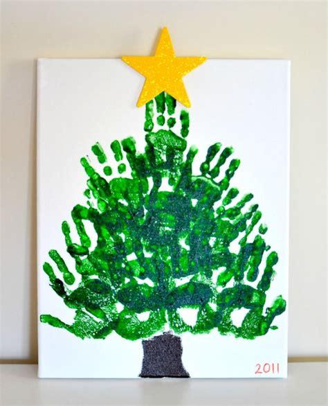 handprint christmas tree keepsake on canvas parent gift