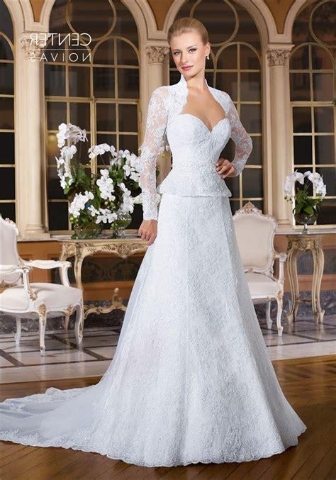 sweetheart peplum lace wedding dress  long