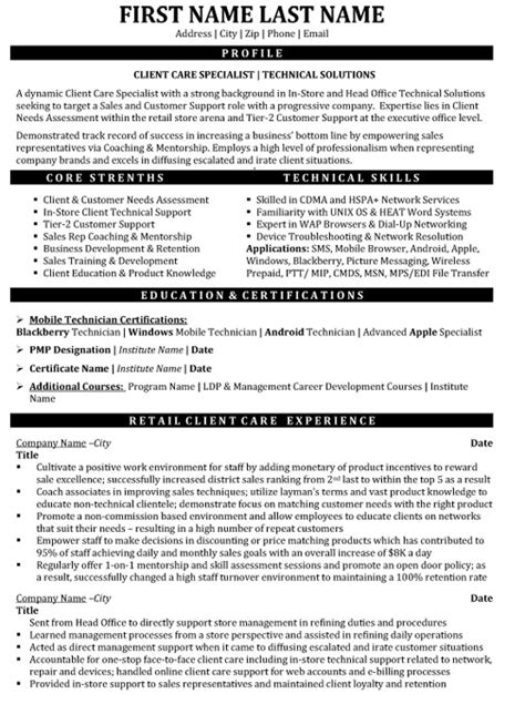 Customer Service Resume In Canada by Client Care Specialist Resume Sle Template