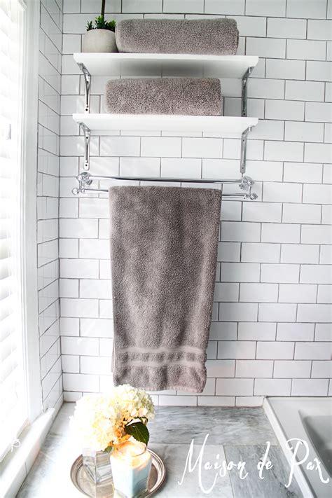 bathroom shelving ideas for towels hotel shower towel racks decobizz com