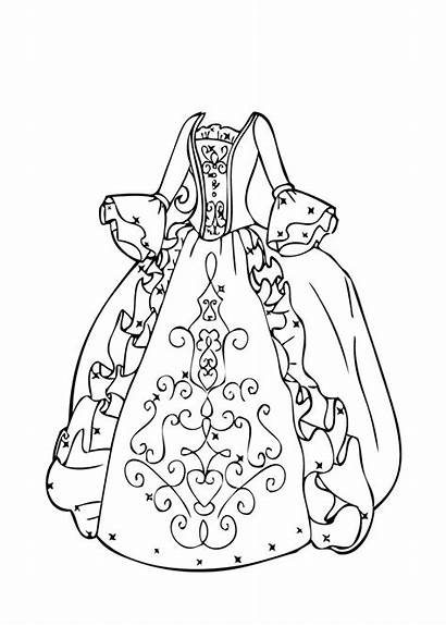Coloring Pages Printable Colouring Gown Ball