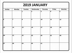 Free January 2019 Calendar Landscape & Portrait Template
