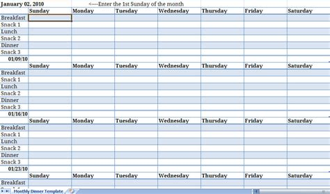 monthly meal planner monthly meal planner template