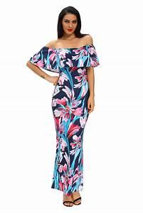 robe fleurie longue femme epaules denudees collerette With robe fleurie femme